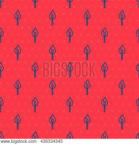 Blue Line Burning Match With Fire Icon Isolated Seamless Pattern On Red Background. Match With Fire.