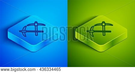 Isometric Line Pickaxe Icon Isolated On Blue And Green Background. Square Button. Vector