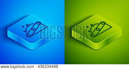 Isometric Line Conveyor Belt Carrying Coal Icon Isolated On Blue And Green Background. Square Button