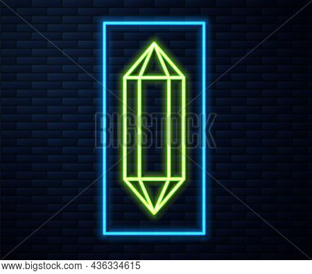 Glowing Neon Line Gem Stone Icon Isolated On Brick Wall Background. Jewelry Symbol. Diamond. Vector