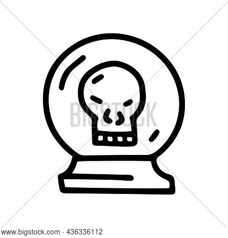 Crystal Ball With Skull Line Vector Doodle Simple Icon