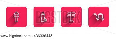 Set Line Airport Control Tower, No Water Bottle, Road Traffic Sign And Trolley Baggage With Long Sha