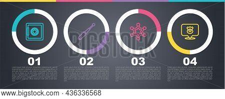 Set Line Safe, Telescopic Baton, Hexagram Sheriff And Police Badge. Business Infographic Template. V