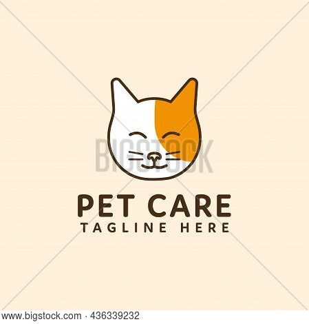 Pet Care Logo Cat Head Vector Design. Pet Shop Logo Design Stock Illustrations. Dog Cat Logo. Animal