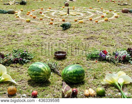 Andean Cross, Chakana Or Ceremony In Homage To Pachamama (mother Earth) - Is An Aboriginal Ritual Of