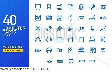 Computer Parts And Components Icon Set. Computer Hardware Outlined Icon Collection. Suitable For Des