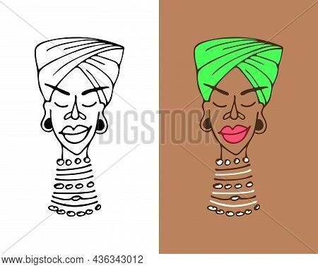 Beautiful African American Girl In A Turban And Beads On A Long Neck. Portrait Of A Dark-skinned Wom