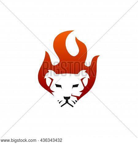 Lion Flame Fire Illustration Emblem Mascot Isolated
