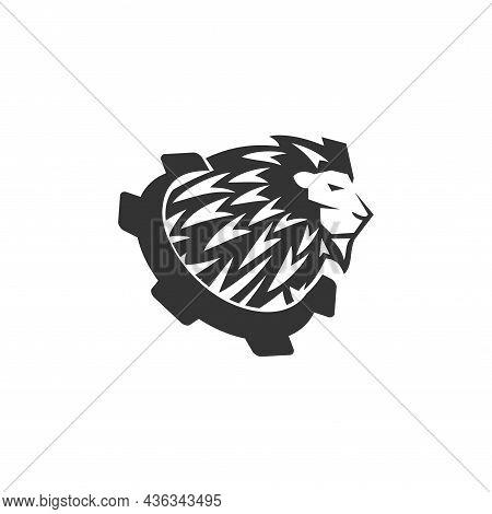 Lion Head Gear Template Illustration Emblem Mascot Isolated