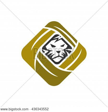 Lion Leaf Head Abstract Illustration Emblem Template Mascot Isolated