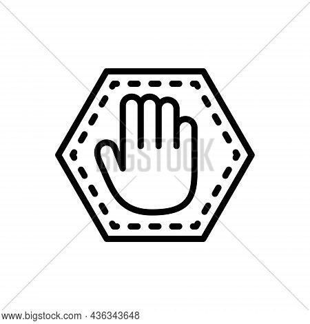 Black Line Icon For Stopping Sign Palm Gesture Do-not-enter Roadsign Warning Attention
