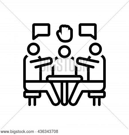 Black Line Icon For Interventions Interference Mediation Involution Intermediation