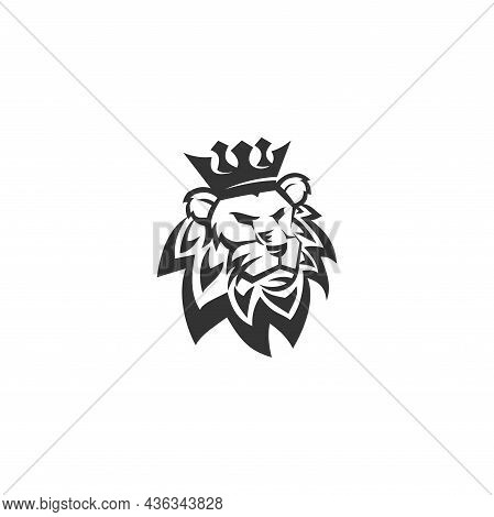 Lion  Crown Template Illustration Emblem Mascot Isolated