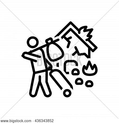 Black Line Icon For Refugees Alien Displaced-person Emigrant Foreigner Expat