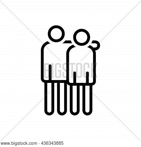 Black Line Icon For Brothers People Brethren Sibling Relative Fellow Partner