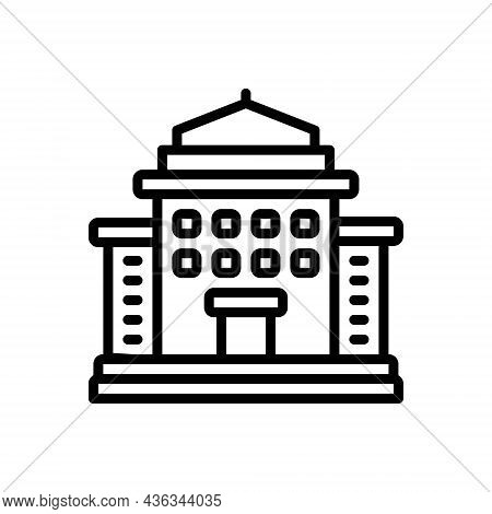 Black Line Icon For Municipality Borough Community Town Architecture Courthouse Government Embassy