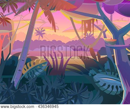 Jungle Creepers. Dense Thickets. Morning Sunrise Dawn Or Evening Sunset. View From The Forest. South