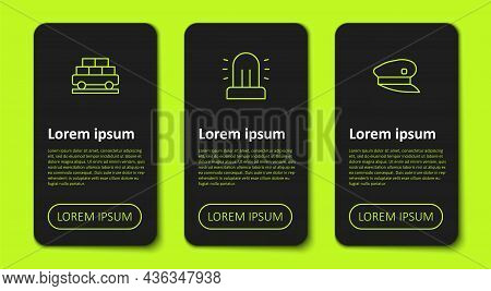 Set Line Cargo Train Wagon, Flasher Siren And Train Driver Hat. Business Infographic Template. Vecto