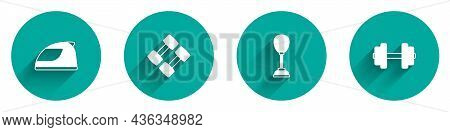 Set Racing Helmet, Dumbbell, Punching Bag And Icon With Long Shadow. Vector