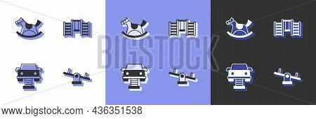 Set Seesaw, Horse In Saddle Swing, Swing Car And Swedish Wall Icon. Vector