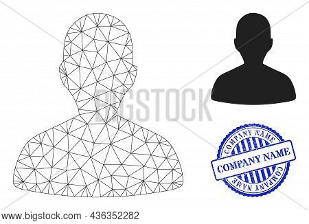 Web Network Person Profile Vector Icon, And Blue Round Company Name Rough Stamp Imitation. Company N