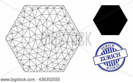 Web Net Hexagon Vector Icon, And Blue Round Zurich Rough Stamp Print. Zurich Imprint Uses Round Form