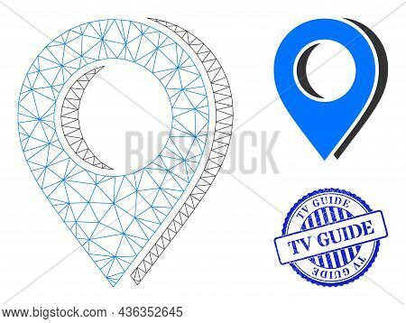 Web Mesh Map Marker Shadow Vector Icon, And Blue Round Tv Guide Rough Stamp Seal. Tv Guide Stamp Sea
