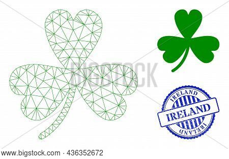Web Net Clover Leaf Vector Icon, And Blue Round Ireland Scratched Stamp Seal. Ireland Stamp Uses Rou