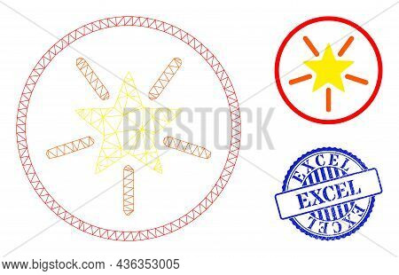 Web Mesh Rounded Shine Star Vector Icon, And Blue Round Excel Dirty Stamp Seal. Excel Stamp Seal Use