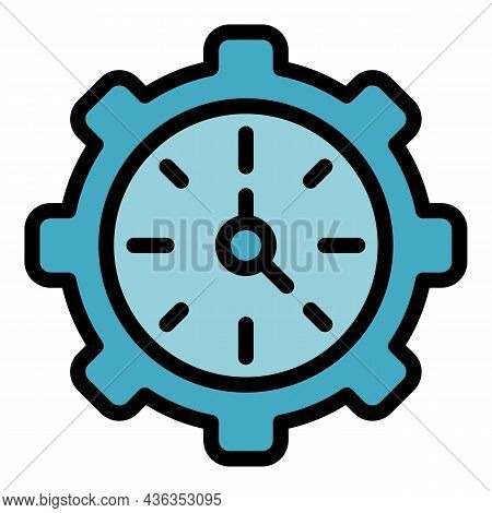Clock Gear Wheel Icon. Outline Clock Gear Wheel Vector Icon Color Flat Isolated