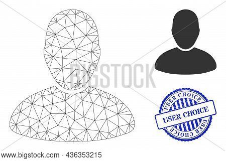 Web Carcass User Vector Icon, And Blue Round User Choice Grunge Stamp Seal. User Choice Seal Uses Ro
