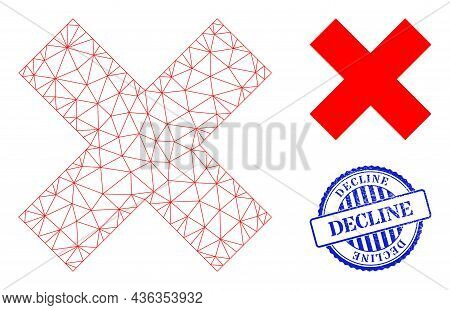 Web Carcass X-cross Vector Icon, And Blue Round Decline Corroded Stamp Imitation. Decline Stamp Seal