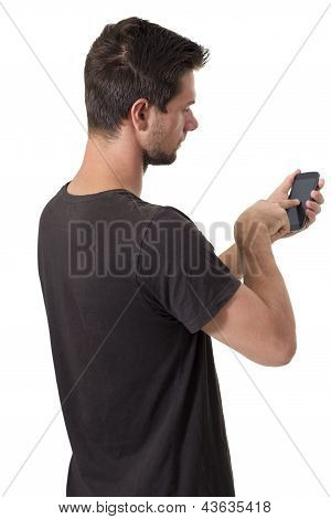 Young Man Working On His Smartphone