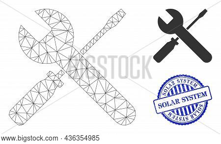 Web Mesh Screwdrivers And Wrench Vector Icon, And Blue Round Solar System Rough Stamp Seal. Solar Sy