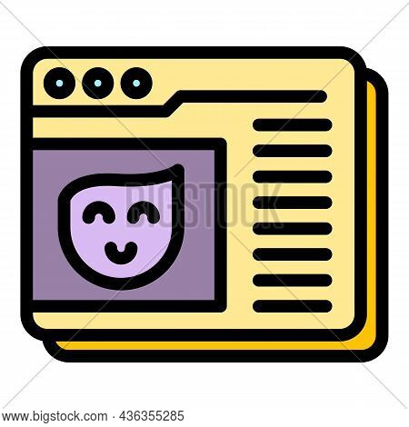 Online Assistance Icon. Outline Online Assistance Vector Icon Color Flat Isolated