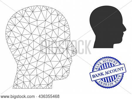 Web Carcass Man Profile Vector Icon, And Blue Round Bank Account Corroded Watermark. Bank Account Wa