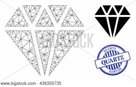 Web Carcass Adamant Crystal Vector Icon, And Blue Round Quartz Unclean Badge. Quartz Stamp Seal Uses