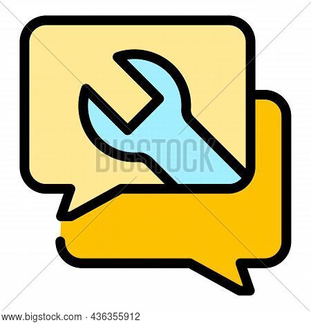 Chat Setting Help Icon. Outline Chat Setting Help Vector Icon Color Flat Isolated