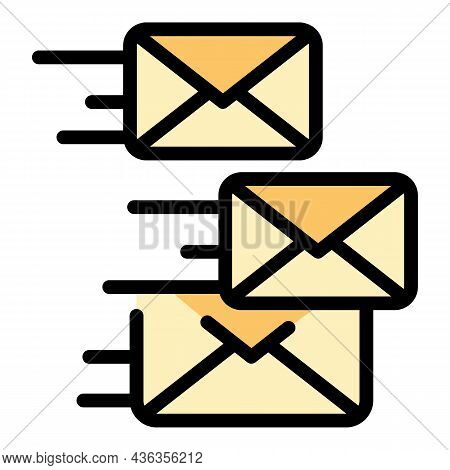 Sending Emails Icon. Outline Sending Emails Vector Icon Color Flat Isolated