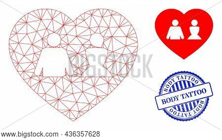 Web Carcass Love Heart Vector Icon, And Blue Round Body Tattoo Grunge Stamp Seal. Body Tattoo Seal U