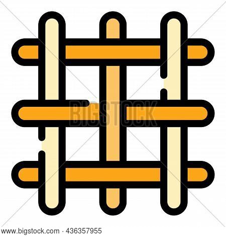 Knitting Net Icon. Outline Knitting Net Vector Icon Color Flat Isolated
