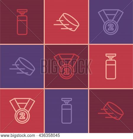 Set Line Punching Bag, Medal And Hockey Puck Icon. Vector
