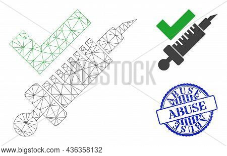 Web Net Vaccination Vector Icon, And Blue Round Abuse Textured Rubber Print. Abuse Stamp Seal Uses R