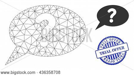 Web Carcass Unknown Message Vector Icon, And Blue Round Trial Offer Grunge Stamp Imitation. Trial Of
