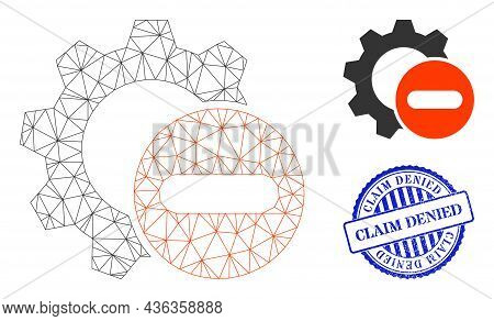 Web Network Remove Settings Gear Vector Icon, And Blue Round Claim Denied Textured Stamp Seal. Claim