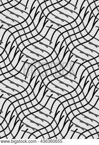 Line, Optical Illusion Seamless Pattern. Abstract Diagonal Geometric Grid Illustration In Grey, Blac