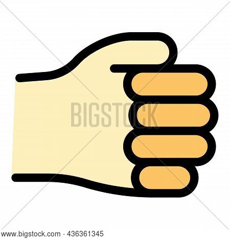 Hand Gesture Fist Palm Icon. Outline Hand Gesture Fist Palm Vector Icon Color Flat Isolated