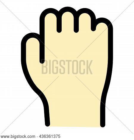 Hand Gesture Fist Revolution Icon. Outline Hand Gesture Fist Revolution Vector Icon Color Flat Isola
