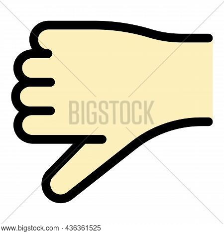 Hand Gesture Thumb Down Icon. Outline Hand Gesture Thumb Down Vector Icon Color Flat Isolated