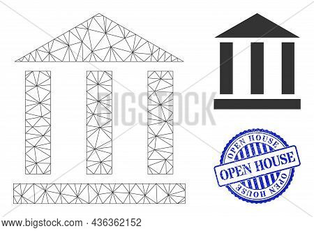 Web Carcass Library Building Vector Icon, And Blue Round Open House Corroded Stamp Imitation. Open H